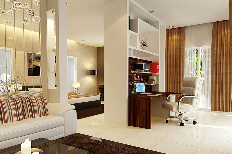 Phân chia không gian phòng khách bằng vách ngăn trang trí 2
