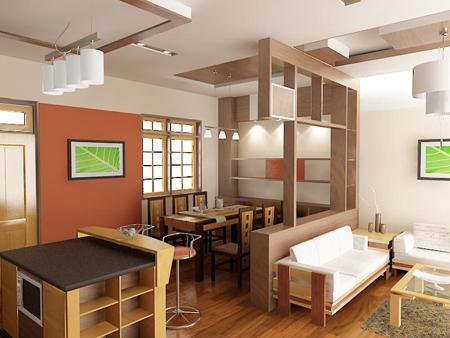 Phân chia không gian phòng khách bằng vách ngăn trang trí 4