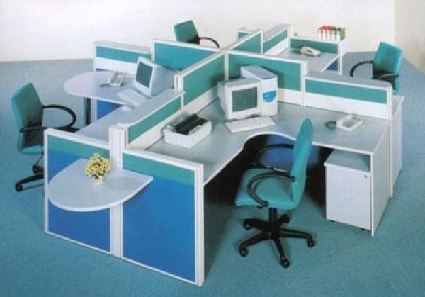 Cách phối màu cho vách ngăn nỉ và bàn làm việc