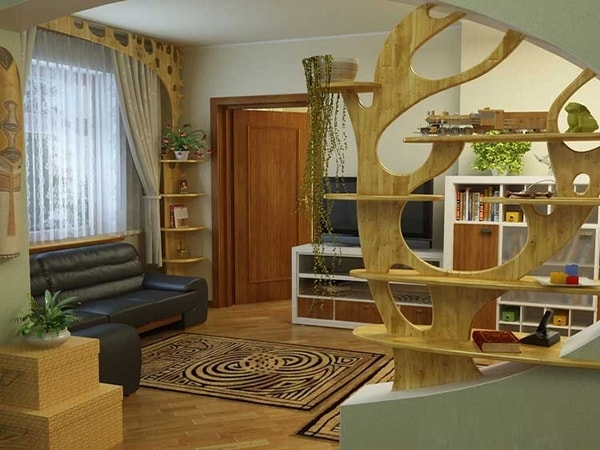 Vách ngăn gỗ đẹp cho phòng khách gia đình