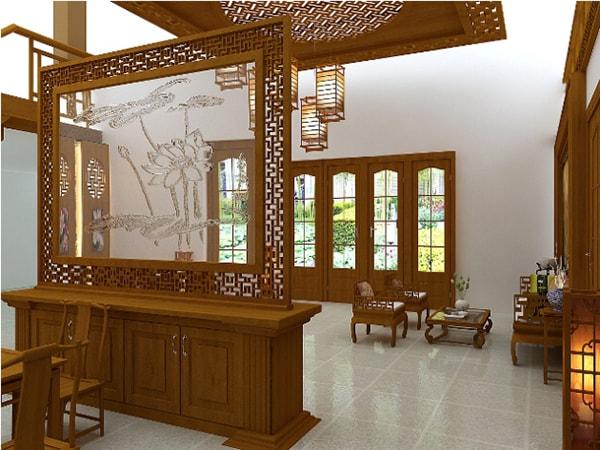 Vách ngăn gỗ cho phòng khách gia đình