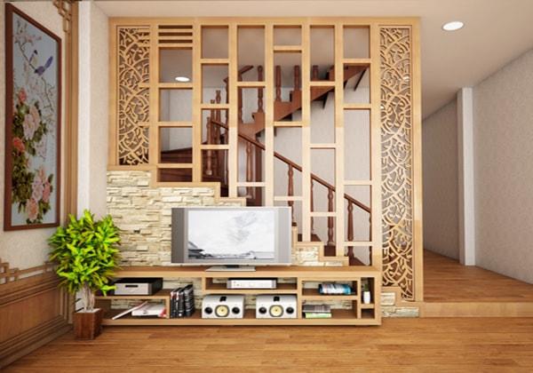 Vách ngăn gỗ đẹp cho phòng khách