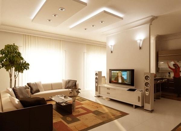 Phân chia phòng bếp và phòng khách bằng vách ngăn thạch cao