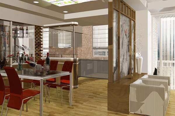 Tạo không gian phòng ăn sau vách ngăn thạch cao trong phòng khách