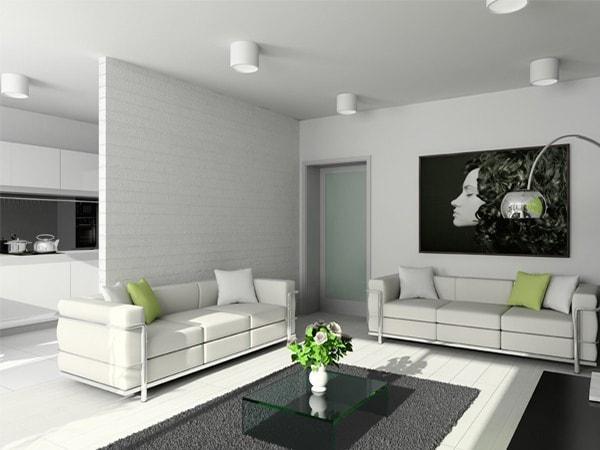 Phân chia và làm đẹp phòng khách với vách ngăn thạch cao