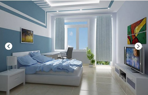 Chọn sơn tường cho phòng ngủ nên chú ý đến diện tích không gian