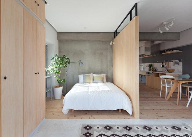Mẫu vách ngăn gỗ cho phòng ngủ gần gũi với thiên nhiên