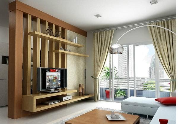 Vách ngăn phòng khách bằng gỗ tự nhiên, đơn giản nhưng vẫn sang trọng