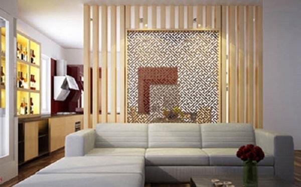 Vách ngăn kết hợp giữa gỗ tự nhiên và gỗ công nghiệp