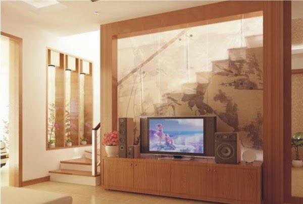 Vách ngăn phòng khách bằng gỗ - kính