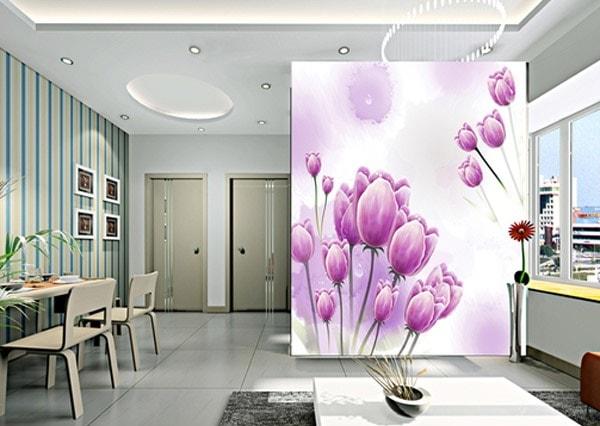 Vách ngăn bằng thạch cao cho phòng khách với hoa văn trang trí nổi bật