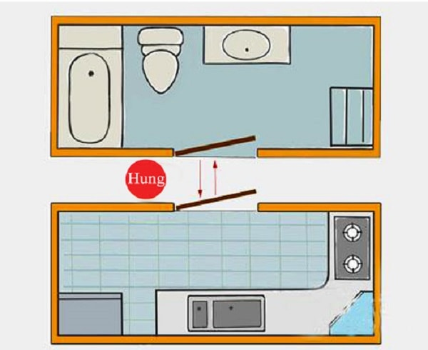 Không thiết kế cửa nhà vệ sinh đối diện cửa bếp