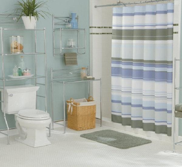 Bài trí một chiếc rèm trong nhà vệ sinh để đảm bảo sự phân cách không gian