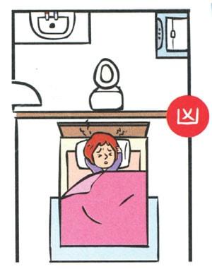 Không đặt đầu giường tựa vào nhà vệ sinh
