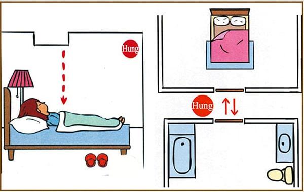 Không đặt cửa phòng ngủ gần hay đối diện cửa nhà vệ sinh