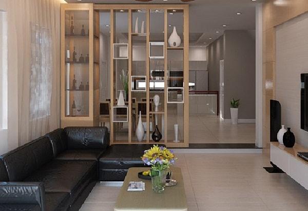Vách ngăn phòng khách và phòng ăn được làm bằng gỗ tự nhiên