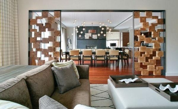 Vách ngăn bằng gỗ tự nhiên sáng tạo