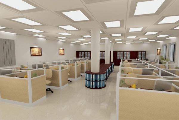 Vách ngăn gỗ kết hợp kính sẽ khiến văn phòng thoáng hơn