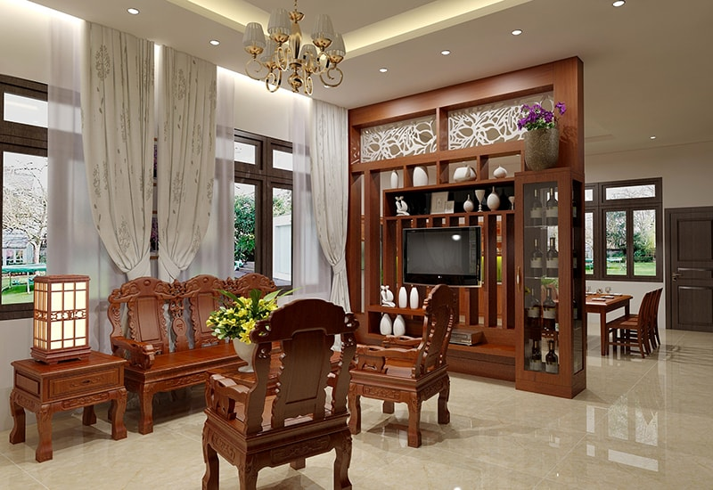 Vách ngăn phòng khách bằng gỗ tự nhiên