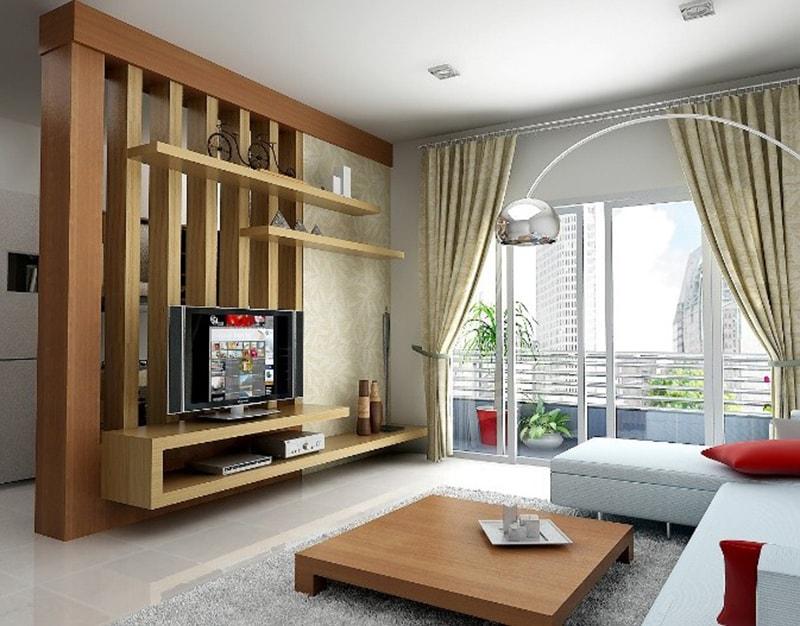 Vách ngăn phòng khách bằng gỗ công nghiệp