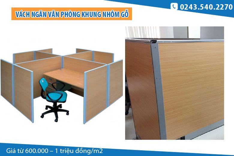 Vách ngăn văn phòng khung nhôm gỗ