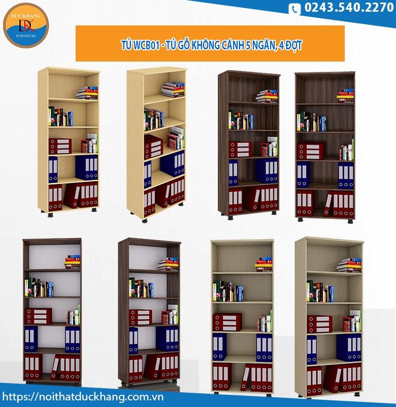 Tủ WCB01 - Tủ gỗ không cánh 5 ngăn, 4 đợt